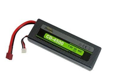D-Power CD-4500/2S Lipo 7.4V 2S 45C mit T-Stecker,