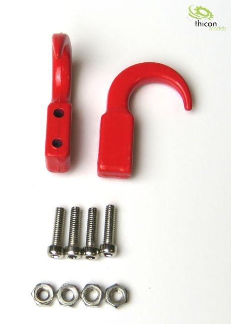 Haken lang aus Metall rot 2Stück
