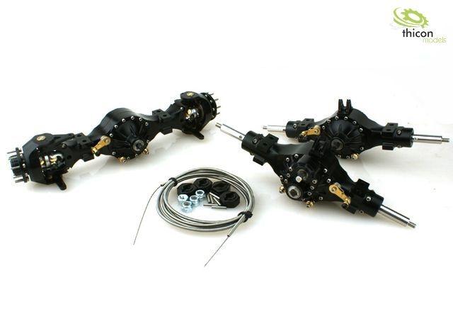 1:16 6x6 Achspaket sperrbar Metall schwarz 3:1