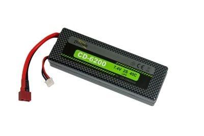 D-Power CD-6200/2S Lipo 7.4V 2S 45C mit T-Stecker,